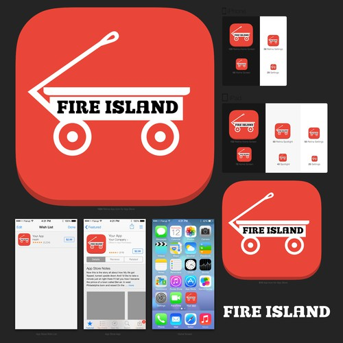 iOS Icon for travel tools for Fire Island, Long Island, New York.