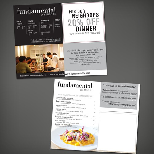 postcard/flyer for fundamental LA (restaurant)