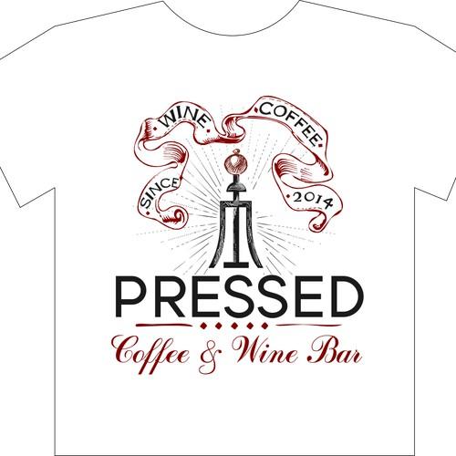 Innovative coffee & wine bar t-shirt design. Industrial, fashion, cool, unusual