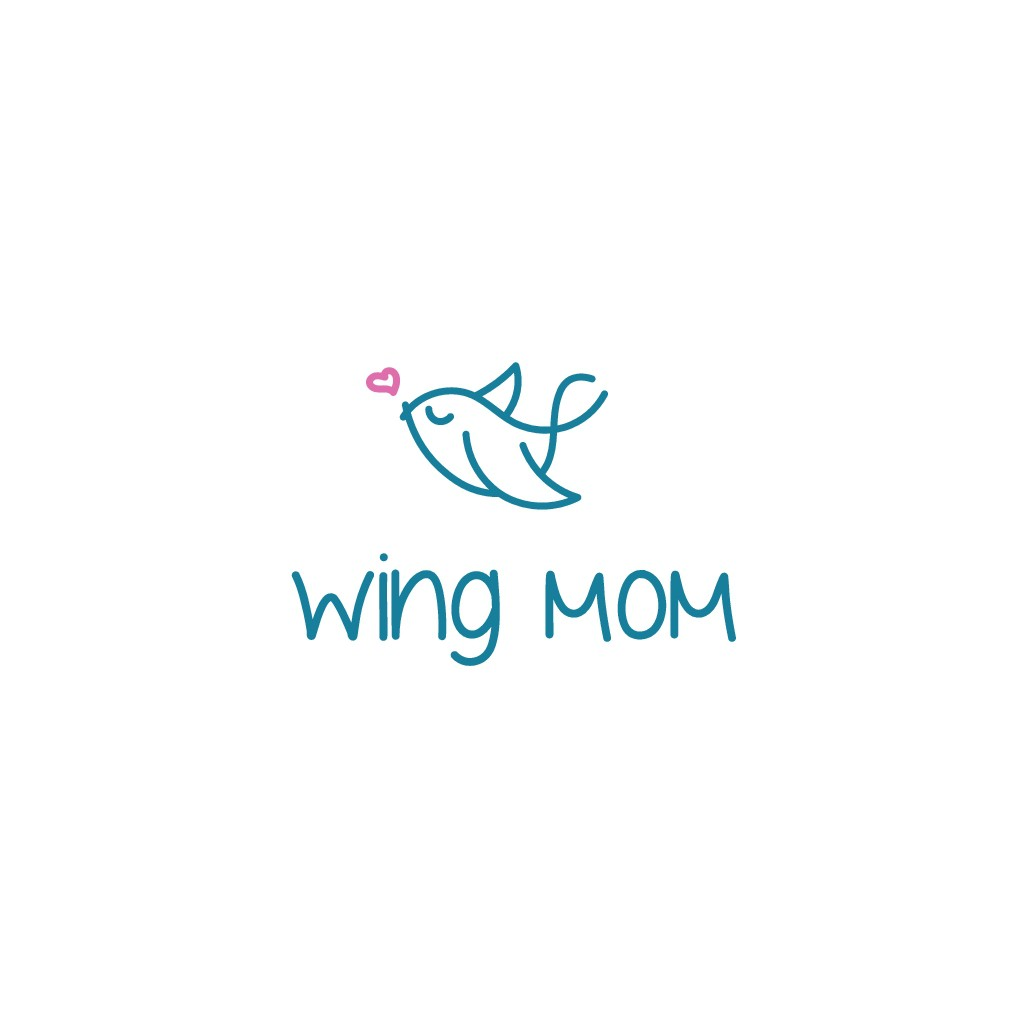 Design a fun and whimsical logo for Wing Mom. Wing Mom provides on-demand help for the busy mom who does it all!