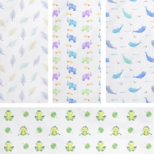 Unisex designs for set of 4 baby blankets