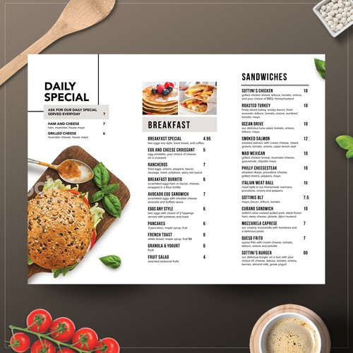 Trifold Menu Design for Sottinis