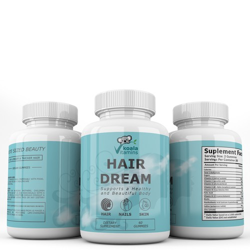 Create a label for supplemenI present you my label designt hair vitamins.
