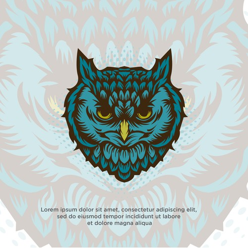 Illustration of blue owl head, for t-shirt design and merchandise