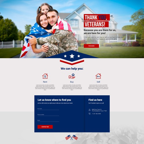 Lead generating landing page for a real estate company