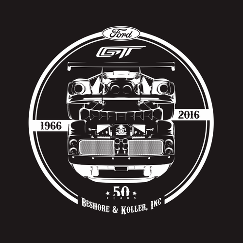 Automotive Tee Shirt - 2016 Ford GT 50 year Lemans Anniversary