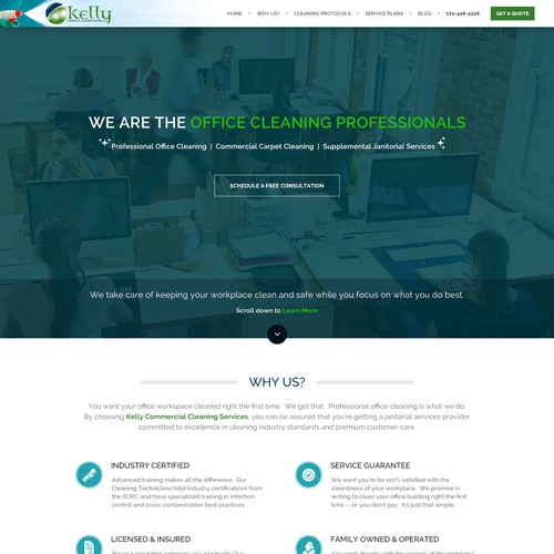 WordPress theme for a janitorial company