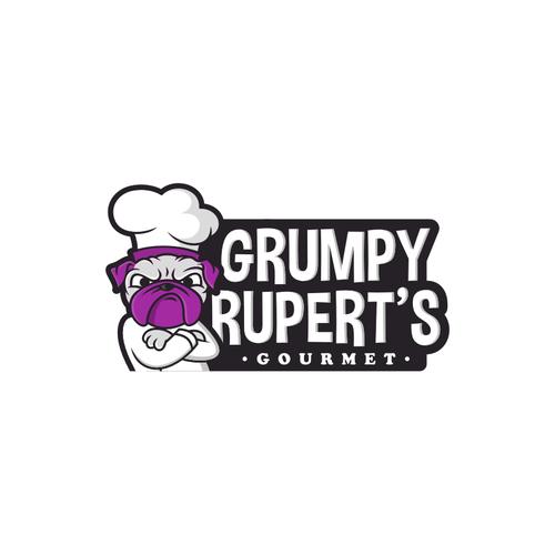 Create a cool logo for Grumpy Rupert's Gourmet foods.