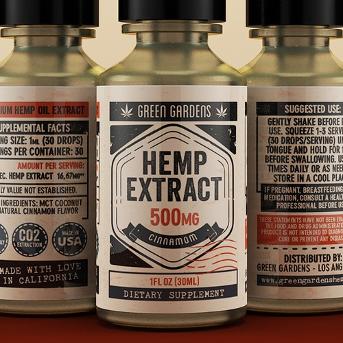 Green Gardens Hemp Extract Label