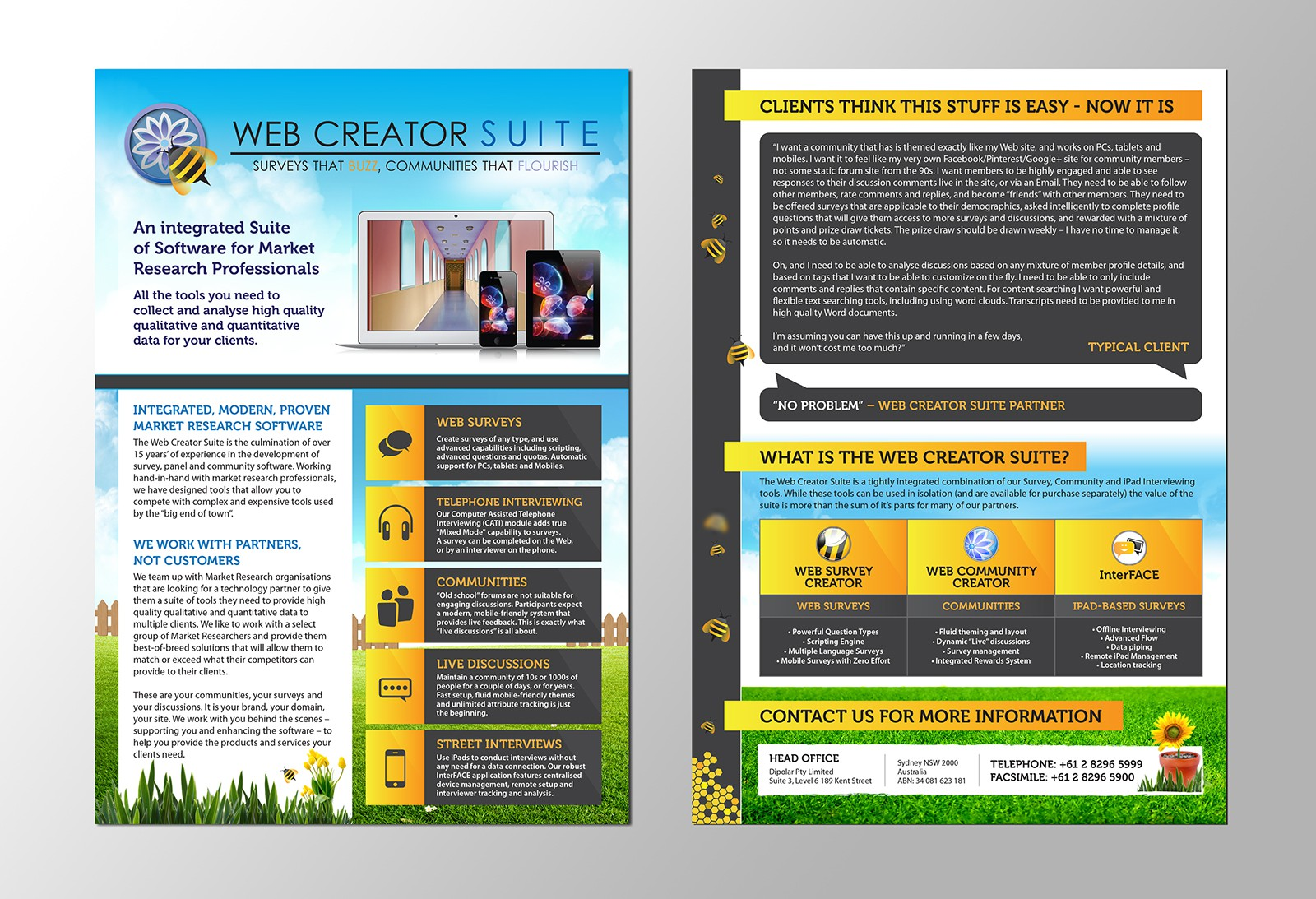 Create a Playful but Professional A4 Brochure for a Software Package