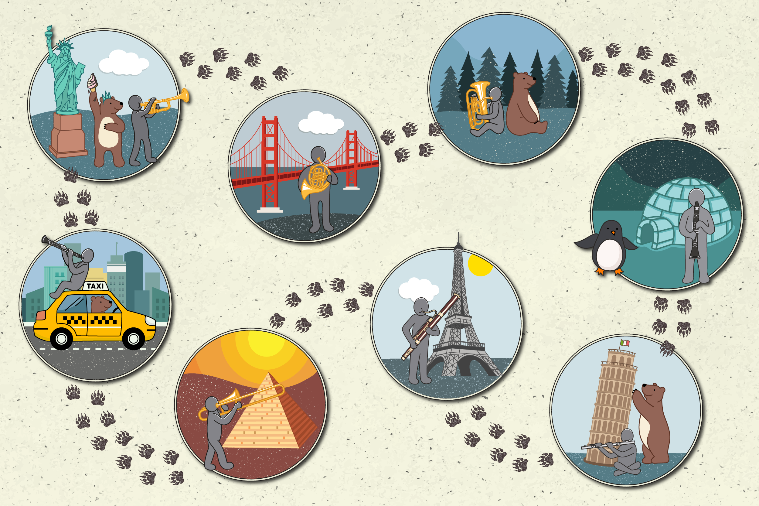 Create 8 mini-illustrations for Nomad Session