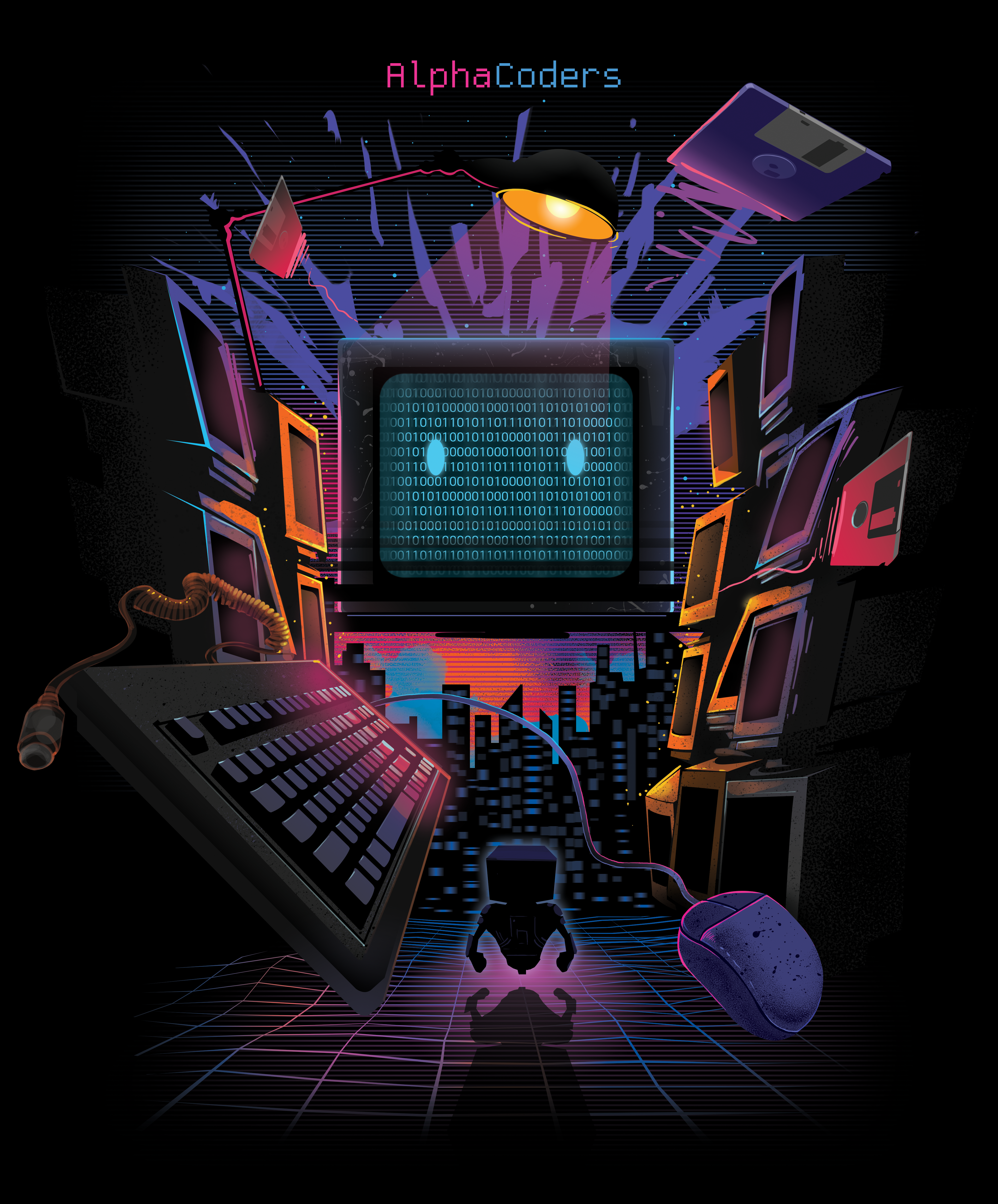 Retro Wave Style T-Shirt for Alpha Coders