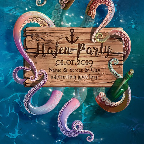 Harbour style Party Flyer illustration