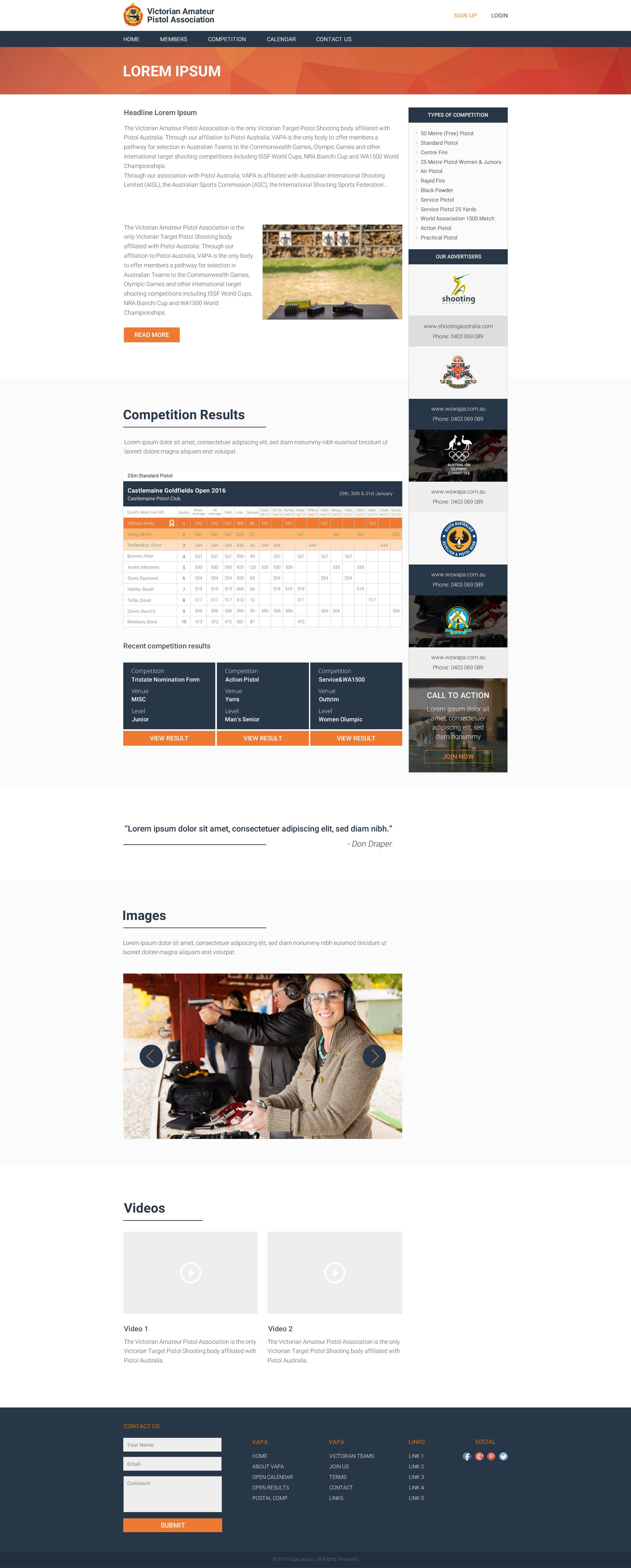 Unique Contempory Sporting Website - Competitive Shooting