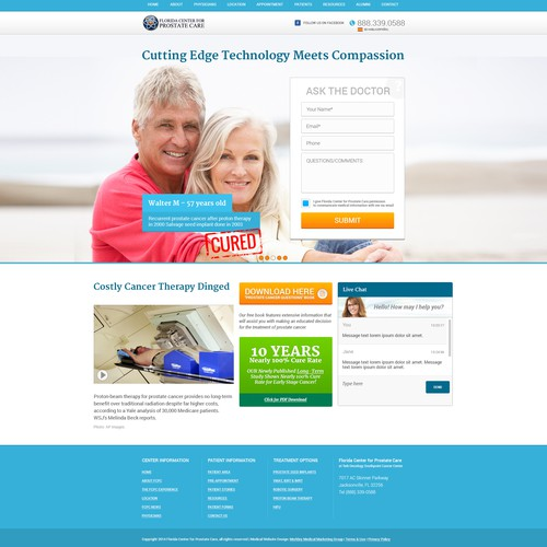 Create a beautiful landing page for cancer treatment center
