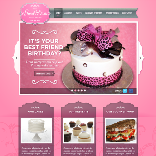 Create the next website design for The Sweet Divas Bakery & Bistro