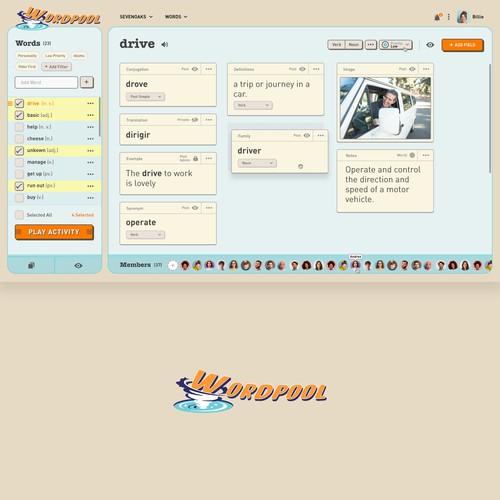 1950s Style Language learning Web-App