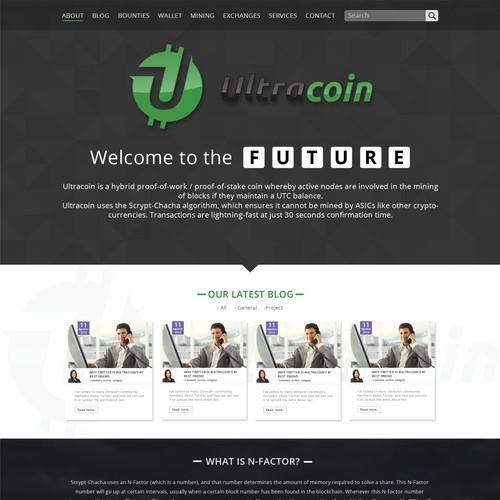 Create a stunning modern website for the cryptocurrency Ultracoin!