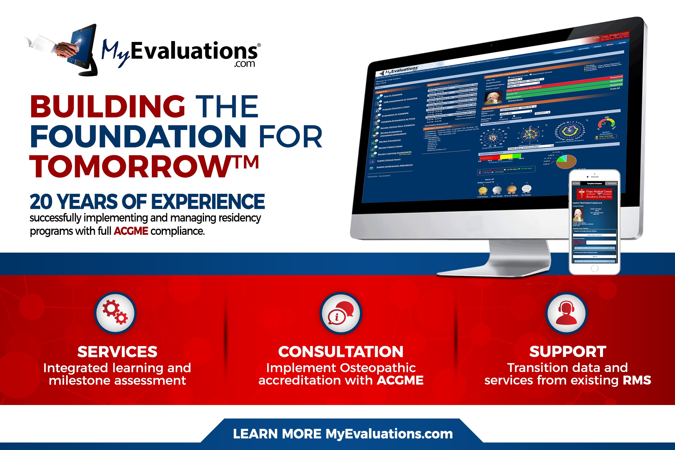 Promotional ads for medical education website MyEvaluations.com
