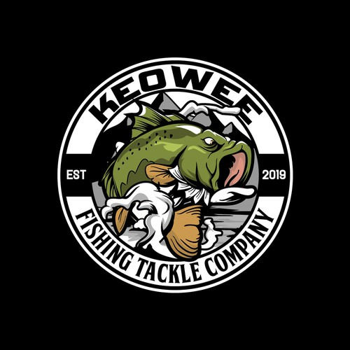 Badass largemouth bass fish character for keowee logo designs