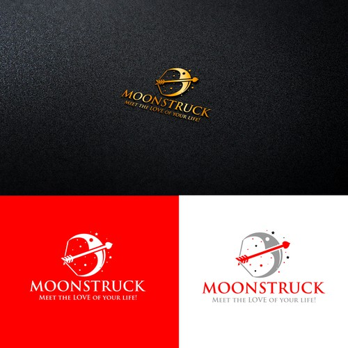 Create a logo and business card that conveys romantic love for our dating service, MOONSTRUCK.