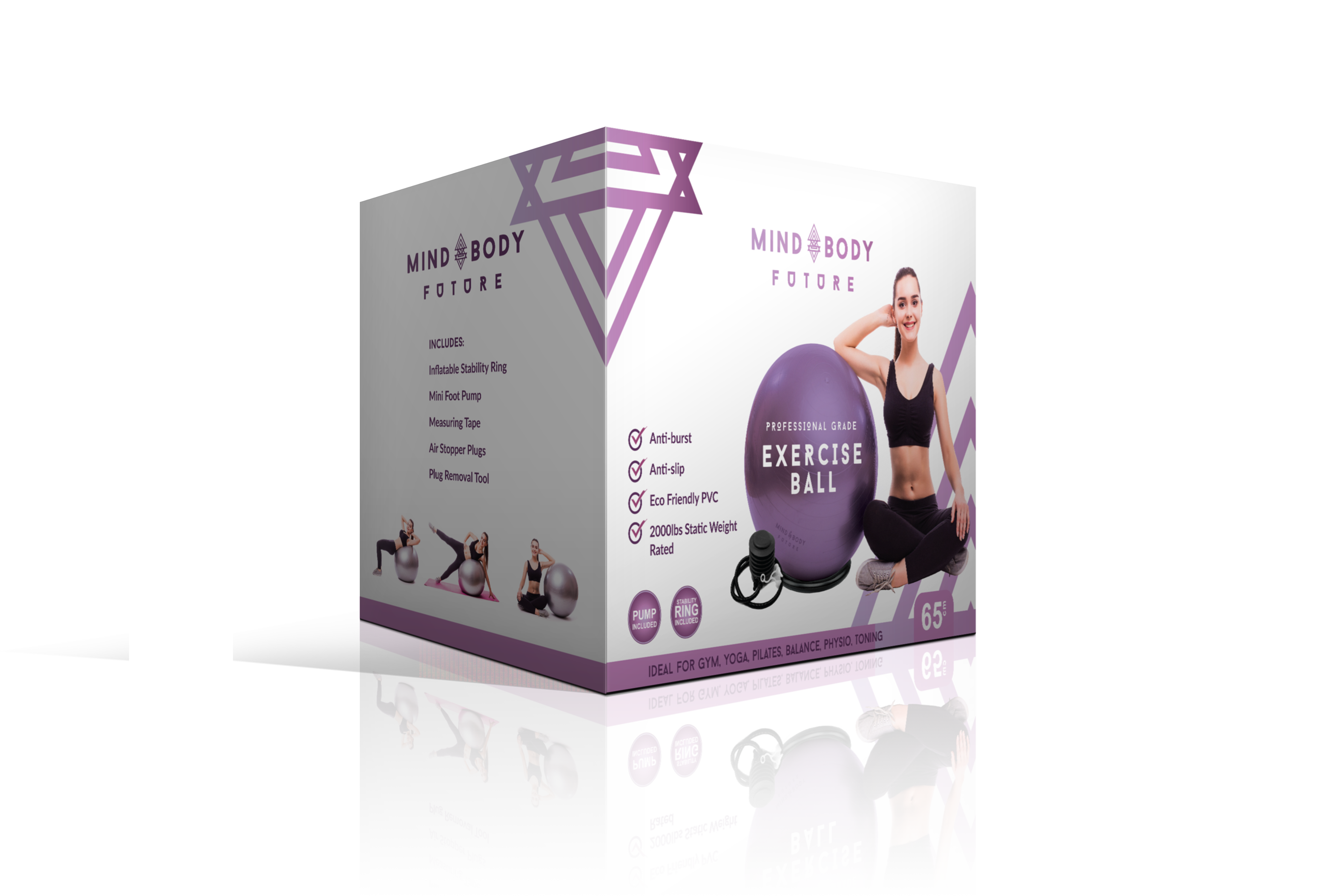 Yoga Ball with Stability Ring Product Packaging