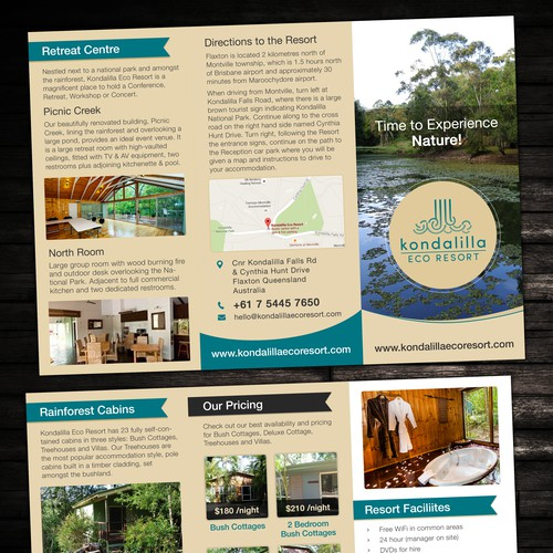 Create A4 to DL size Brochure for Kondalilla Eco Resort
