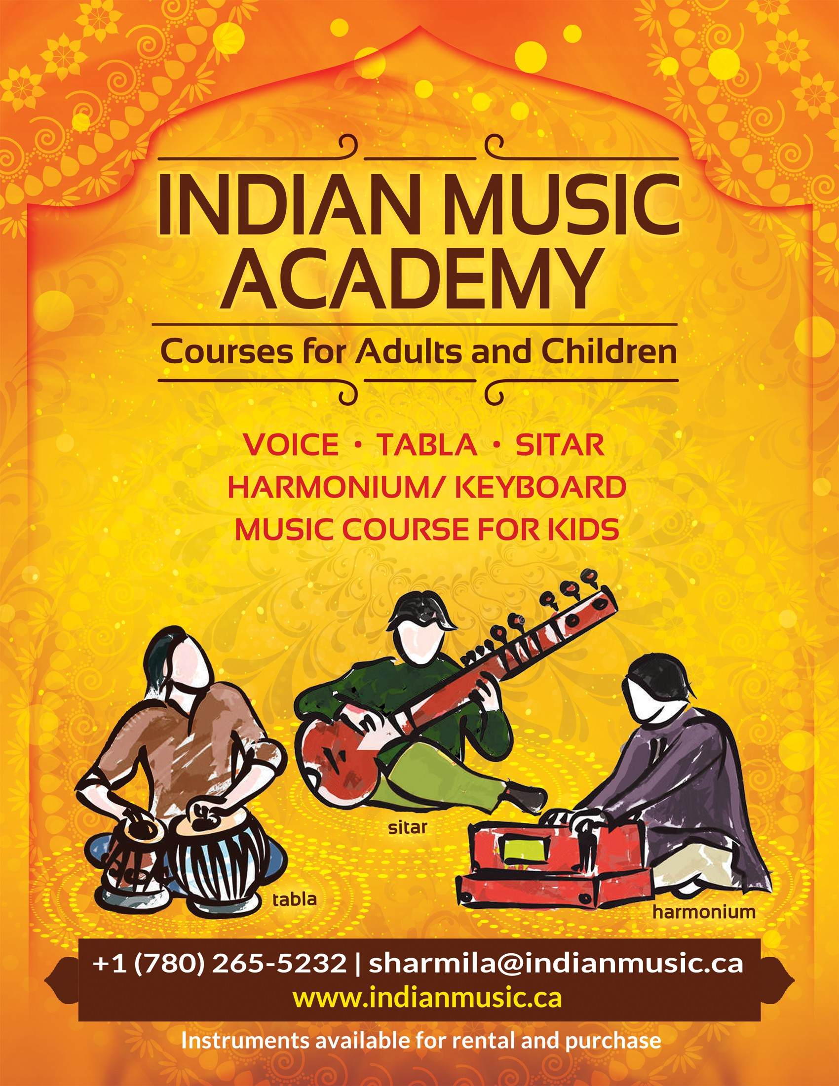 Create an inspiring professional poster for an Indian Music School