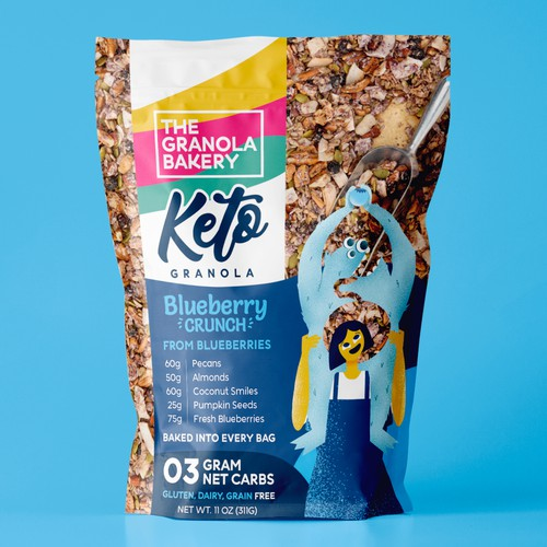 Character illustration for granola packaging