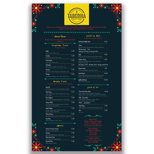 Taberna Menu