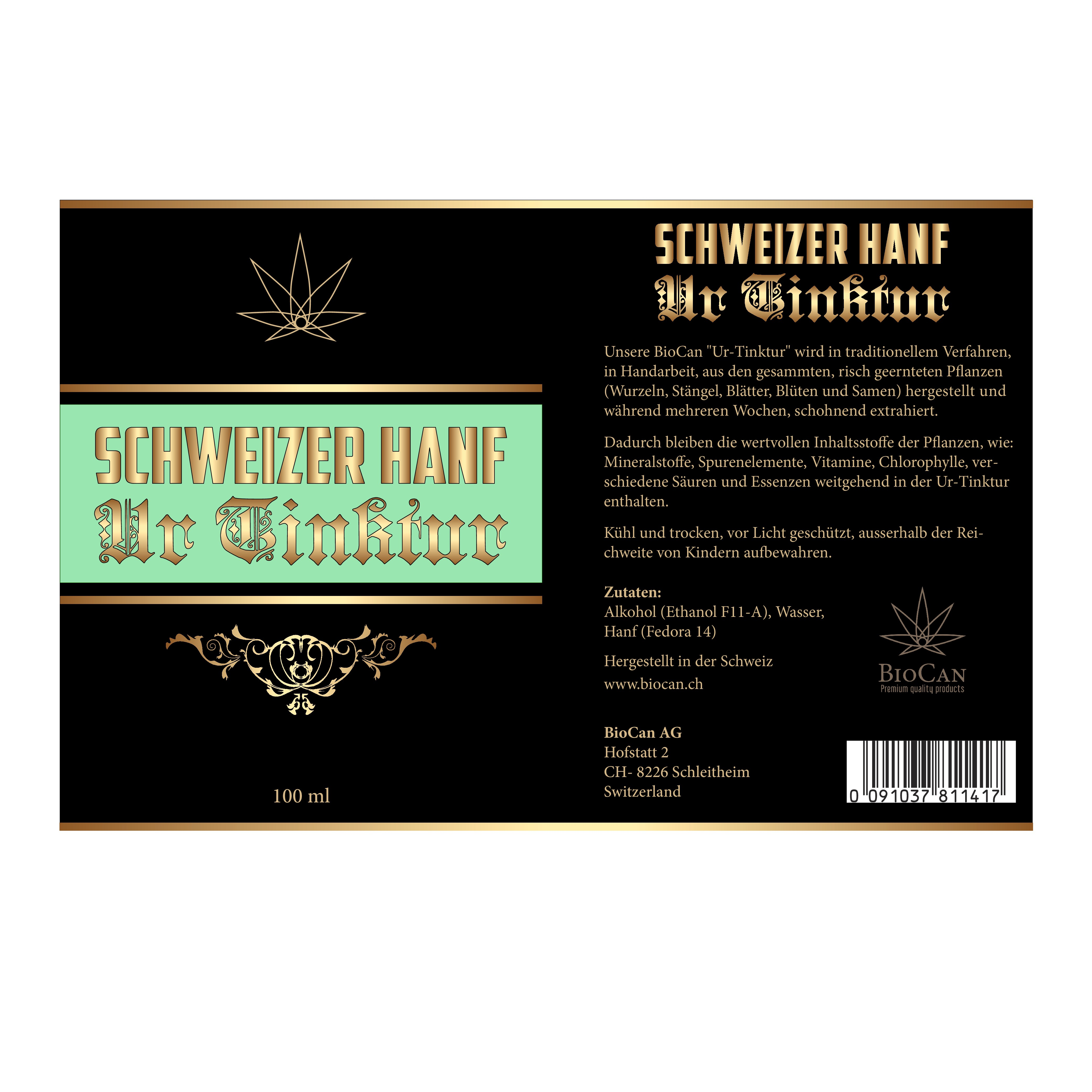 Design a label for a swiss medical cannabis tincture