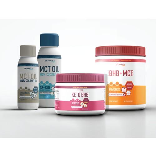 Sleek label design template for supplement packaging.