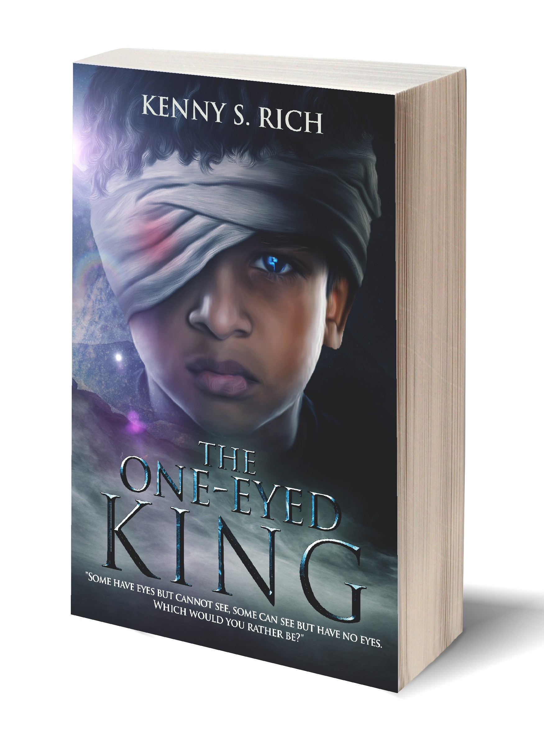 Create a captivating cover design for upcoming sci-fi & fantasy novel, THE ONE-EYED KING