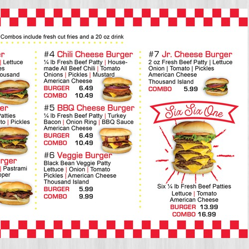Clean, yet fun menu boards for burger joint