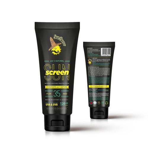 Fun Industrial Label Design For Sun Screen Tube Packaging