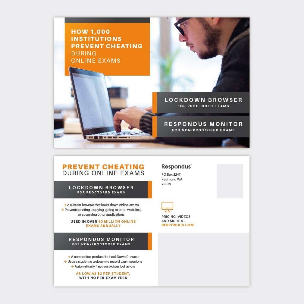 Design a bold postcard for higher education software