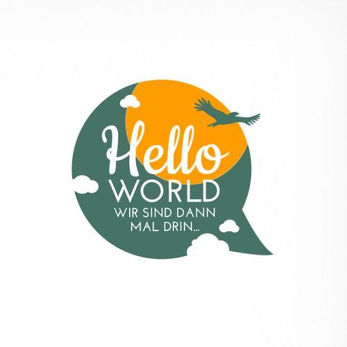 Logo HELLO WORLD, WIR SIND DANN MAL DRIN...