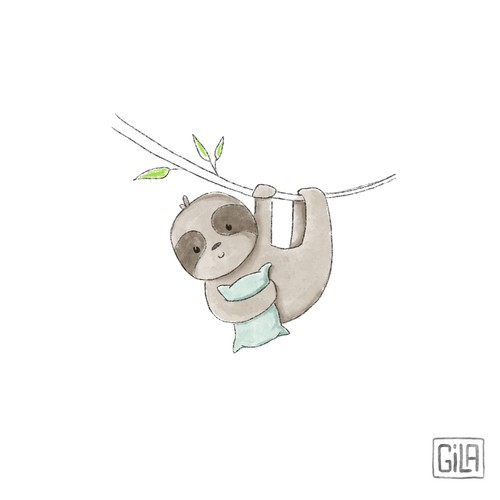 Sloth illustration, children's book