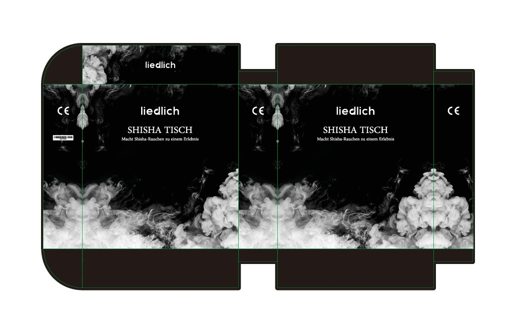 Product packaging for hookah (/Shisha) table in simple and clean design (black/white)