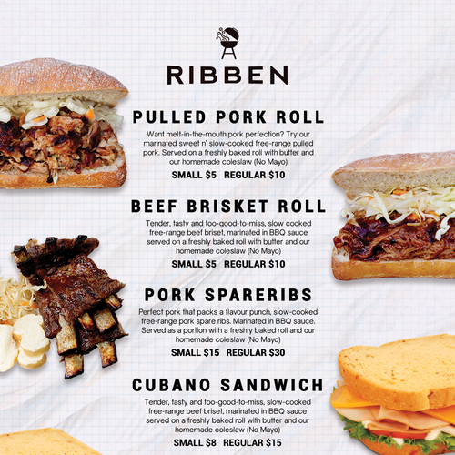 A one sided menu for Ribben