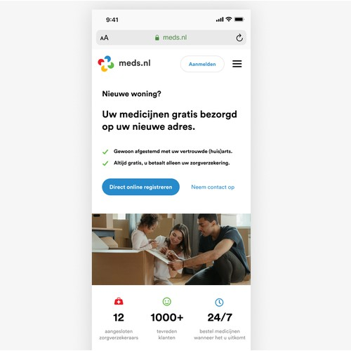 Meds.nl landing page design (mobile)
