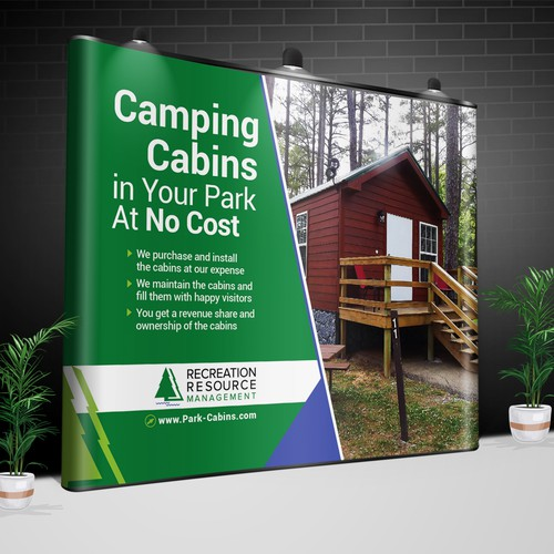Design a trade show backdrop for a cool new camping business
