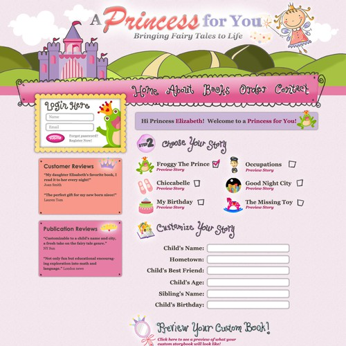 Customizable fairy tales website