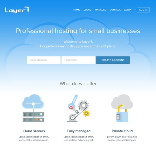 Website redesign for hosting company