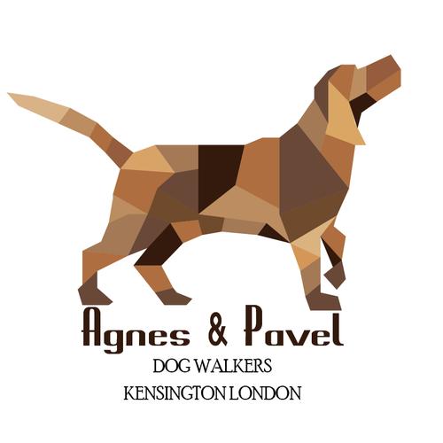 Low Poly Dog Walking Logo