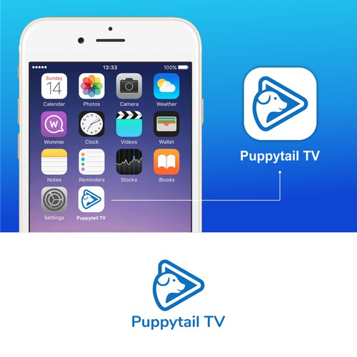 Logo / app icon for puppy video sharing app