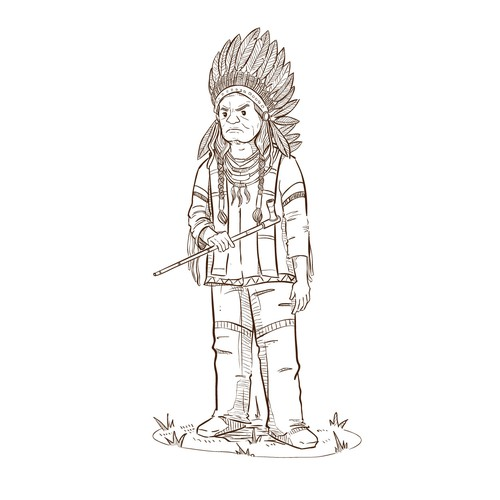 A native American chief Illustration for Historical children book