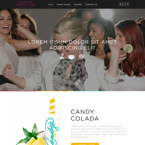 Fun website re-design for Candy's Signature Cocktails & Liqueurs