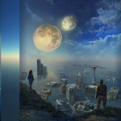 Realistic dystopian book cover illustration