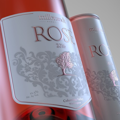 Rosé Wine label for bottle and can